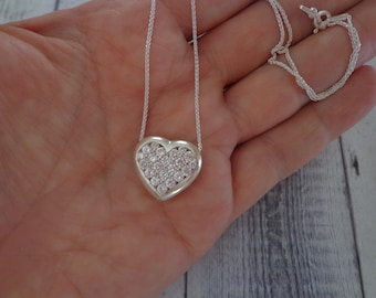 """925 Sterling Silver and CZ Heart Slide on 18"""" Sterling Silver Chain, 8 Grams, Estate"""