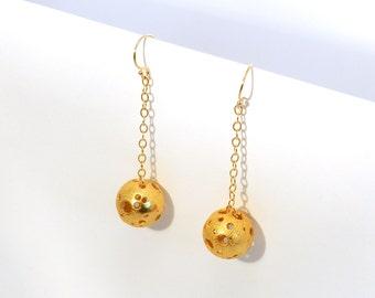 Moonball Dangle Earrings (Steel, Bronze or Gold)