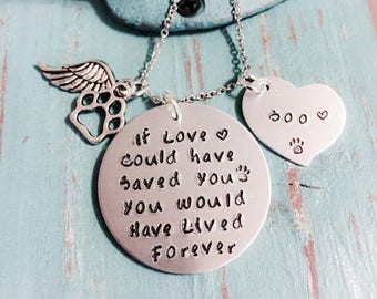 Pet Memorial Jewelry - If Love Could Have Saved you - Cat - Dog - Angel Wing Necklace - Loss of Pet Necklace - Hand Stamped