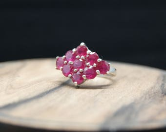 6.68ct ruby sterling silver engagement ring