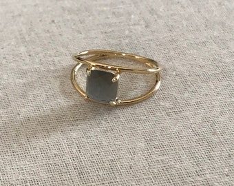 Ring VERA 3 Micron gold plated & smoky gray stone