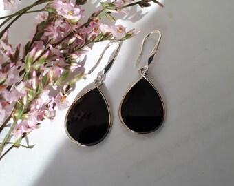 Black onyx earrings, 92.5 sterling silver; teardrop, light weight