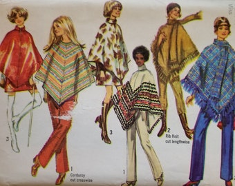 Vintage Simplicity Pattern 8932, Size 10, Poncho, From 1970