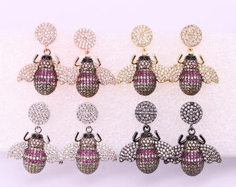 4Pairs  New Design fashion Bee Insects earrings High quality Bee Dangle earrings colorful jewelry Earrings