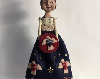 Patriotic Folk Art Doll with Eagles, Applique Embroidery Sculpted Handmade Dawn Tubbs Boy Howdie Folk Art