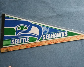 Vintage Seattle Seahawks 1990s Logo Pennant - Nice/With Sleeve - Free Shipping!