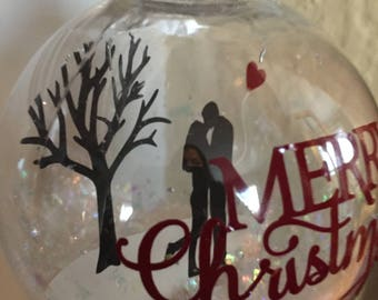 Christmas Ornament, Clear Ornament, Couple Ornament, Love Ornament, Heart Ornament, Merry Christmas Ornament
