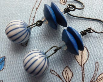 Pin-Striped Porcelain Dangles, Blue and White Ceramic Jewelry, Cobalt Blue Cornflake Beads, BalelaCeramics, Northernblooms