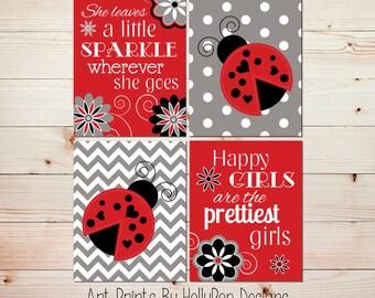Ladybug Girls Room Decor Red White Black Nursery Art Baby Girl Nursery Nursery Wall Decor She Leaves a little Sparkle Happy Girls Quote 0927