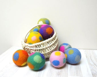Wool dryer balls large set of 3 4 2 5 6 7 color felted polka dots laundry cat dog pet baby children pink blue green orange gray red yellow
