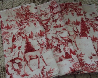 Set of Four Christmas Napkins, Red Nature Print Napkins, Handmade Napkins, Cotton Napkins, Cloth Napkins, Dinner Napkins, Fabric Napkins