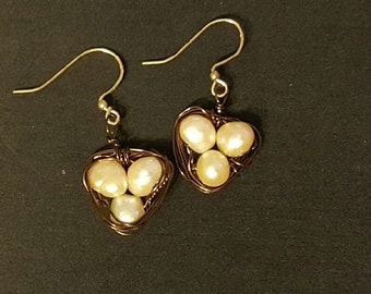 Freshwater Pearl Nest Earrings