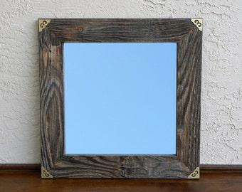 Reclaimed Wood Mirror with Gold Metal Corners. Rustic Home Decor. Wall Mirror. Framed Mirror. Farmhouse Mirror. Bathroom Mirror. 20x20