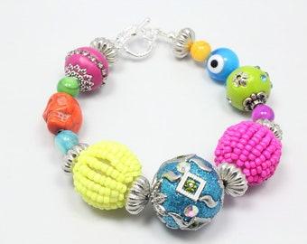 Colorful Fiesta Bracelet, Artisan Bead Bracelet, Sugar Skull, Evil Eye, Kashmiri Beads, Summer Colors, Boho Bracelet