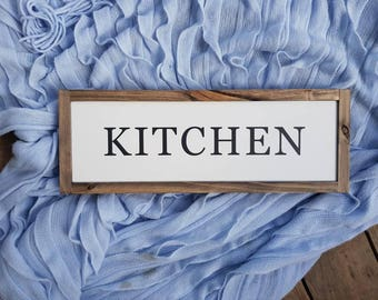 "KITCHEN Framed Farmhouse Style Painted Wood Sign Modern Country Style Rustic Wood Timber Home Decor - 50 x 18cm (19.75""x7"")"