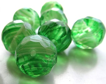 Czech Glass Beads 14mm Swirled Green & Lime Faceted Rounds - 8 Pieces