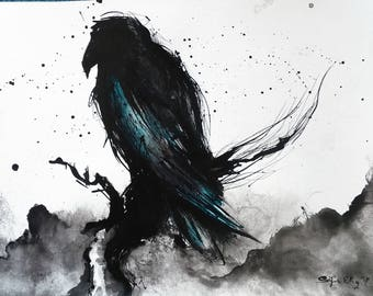 Crow art - A3 - 16x12in  - abstract bird painting - turquoise feathers - sitting on a branch