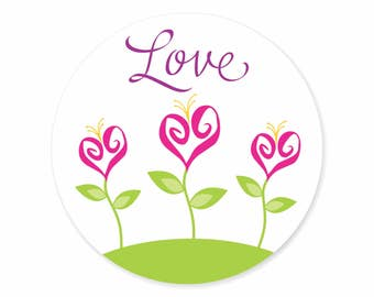 Love Blossoms Valentine's Day Labels Stickers