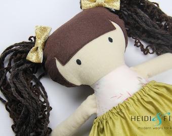 NEW Mini Pals soft rag doll keepsake gift OOAK ready to ship gold golden brunette floral