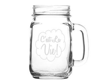 Personalized Mason Jar Mug - 16 oz. - Laser Etched Glass Mason Jar Mug - Wedding Favor - Custom Mason Jar Mug