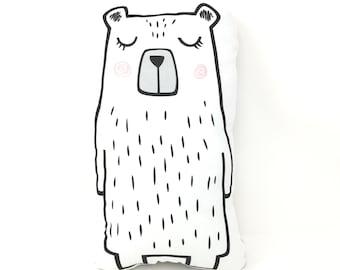 Blushing Bear Plush Pillow. Bear Pillow. Blushing Bear. Bear Stuffed Animal. Bear Shaped Pillow. Tall Bear. Nursery Decor. Gender Neutral