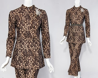 70s handmade brown lace overlay tunic & cropped flare pants | size small