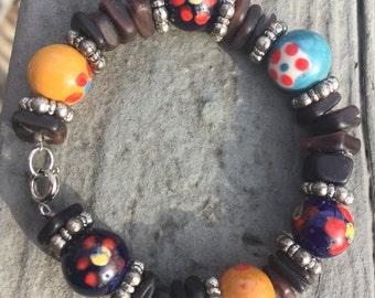 Black beaded bracelet, shell bracelet, boho bracelet, bohemian bracelet, rocker bracelet, recycled bracelet, beach bracelet, gypsy bracelet