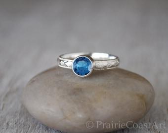 Blue Zircon Ring in Sterling Silver - Handcrafted Blue Zircon Ring -  Blue Zircon stacking Ring - December Birthstone Ring
