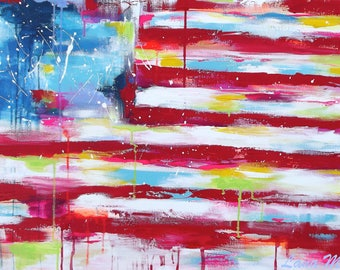 Americana Abstract Flag Wall Art, Giclee Canvas Art Print, Original Painting by Lana Moes, Flag of USA, Art Ready to Hang, Red White & Blue