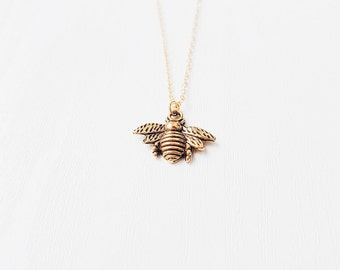 Gold Bee Necklace | Boho Jewelry | Bee Jewellery | Gift | SALE