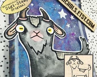 Goat Digital Stamp - Silkie Chicken Digistamp - Easter Digital Stamp - Coloring Pages - Stamp - Printable Sticker - Clip Art - Printables