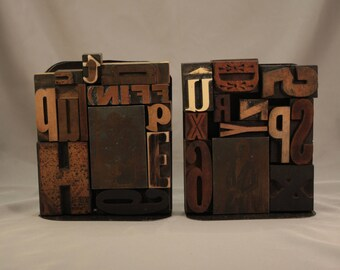 Printers blocks Bookends, letterpress, father's day