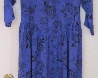Just Mindy Dress, Size: 9-10, Royal Blue with Black Floral Design, Vintage