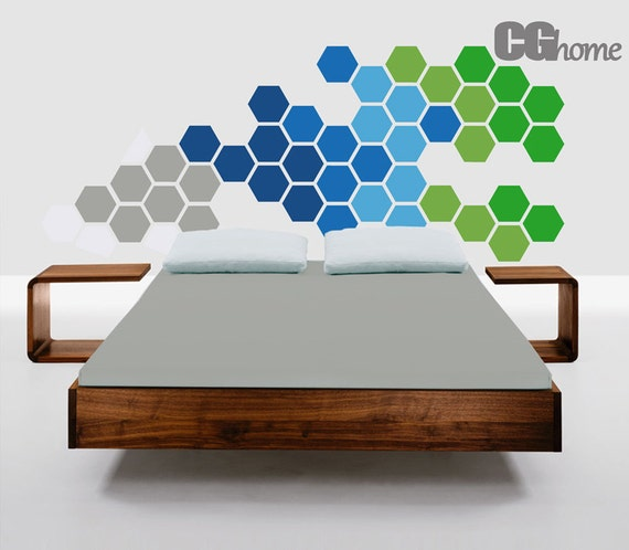 wall sticker HEXAGON geometric honeycomb GREEN headboard blue grey wall decal MODERN vinyl at home Nursery Crib Pattern