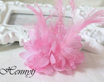 Modische Gorgeous Feder Perlen Spitze Blume mit Pin-Haargummi, auf der Rückseite - Baby Pink