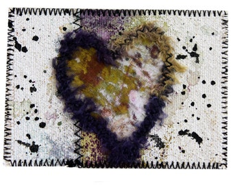 Mixed Media ACEO Art Card Painted Canvas Heart