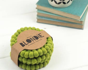 Felt Ball Coasters // Felt Coasters // Green Coasters // Set of 4 coasters // Housewarming Gift