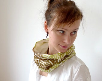 Spring Cowl, Bohemian Cowl, Tube Scarf,  Neck Scarf, Fashion Accessories - Olive Green Pea Green Cowl - Swirly Folk Vintage Retro Fabric