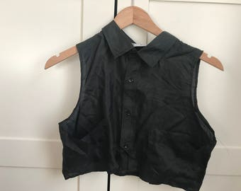 Vintage 80's Black Silk Cropped Top Sleeveless 1980's T Shirt Blouse