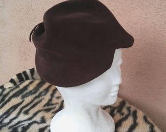 Vintage 1940s Hat 40s Tilt Hat Sculptural Brown Wool