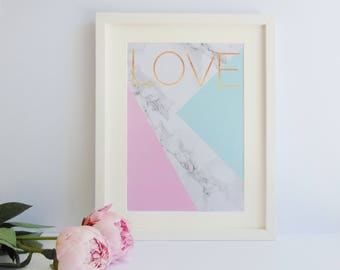 Marble and Pastel Abstract Love Print, Marble Print, Pastel Print, Gold Typography Print, Love Print, Marble and Gold Print