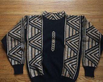 Vintage Neiman Marcus Patterned Wool Heavyweight Sweater