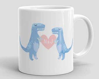 Couples Dinosaur Mug - Personalized, Anniversary Gift, Wedding Gift, Engagement Gift, Gifts for him, Couples Mugs,Dinosaur Mug,Dinosaur Gift