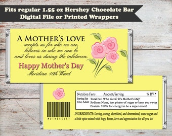 Mother's Day Candy Bar Wrapper, Mothers Day Wrapper, Mother's Day Gift, Mother's Day, Mothers Day, Digital File, INSTANT DOWNLOAD