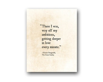 F. Scott Fitzgerald Love Quote Print, Literary Art Print, Romantic Wall Art, Wedding Gift, Large Wall Art, Bedroom Wall Art Decor