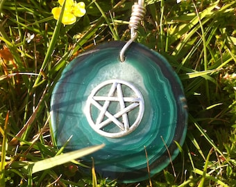 Green Agate pendant with pentacle charm