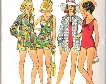 Vintage 1974 Simplicity 6356 Bathing-Suits and Cover-Up Sewing Pattern Size 12 Bust 34""
