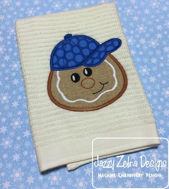 Gingerbread boy wearing baseball hat Applique Embroidery Design - gingerbread boy appliqué design - Christmas Applique Design - boy appliqué