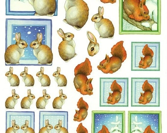 1 x sheet for decoupage rabbit and squirrel winter (MR01)