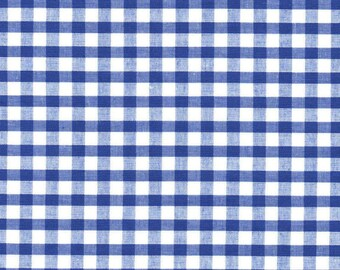 Carly BLUE Mini Checkered Gingham Poly Cotton Fabric by the Yard - 10114